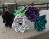 Set of 4 Duck brand duct tape flower pens.