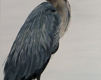 "Original Oil Painting, Bird - ""Blue Heron"" (18"" x 36"")"