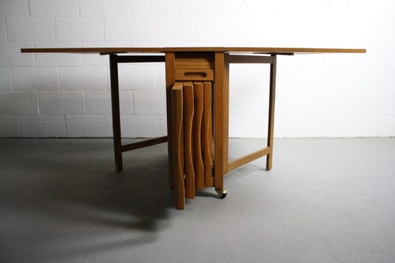 Mid Century Danish Modern Drop Leaf Hide A Way Table By