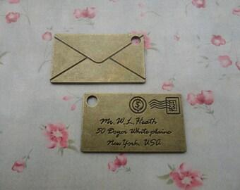 2 colors choice--set of 50--metal envelope pendant-metal envelope charm--40x24mm---MPC3306-50