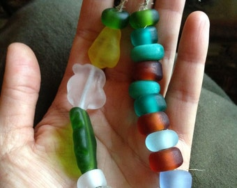 Sea glasses etched lampwork bead set