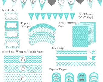 Bridal Shower Decorations | Tiffany Blue | Wedding Shower Decorations | Includes Banner and Much More | PDF Instant Download File