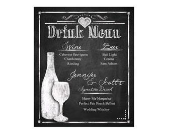 Custom Chalkboard Wedding Drink Menu - choose your size - Rustic Collection