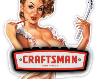 """CRAFTSMAN Made in USA gorgeous woman sticker decal 4"""" x 5"""""""
