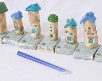 Menorah, Hanukkah Menorah, Holiday Gift, Handmade Menorah, Ceramic Menorah, colorful tiny houses - Hanukkah Hanukkia Chanukkah Chanukiah