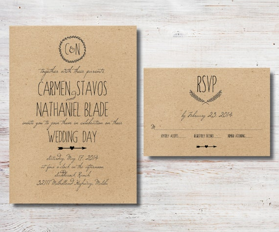 Diy Paper Wedding Invitation: Rustic Wedding Invitation And RSVP DIY By SimplyFetchingPaper
