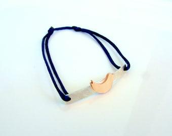 Bronze Bird and Sterling Silver Bracelet - Navy Blue Friendship Bracelet