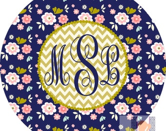 Personalized girls MOD floral dinner plate.   Choose stripes or chevron! A fun and UNIQUE gift idea! Kids love eating on personalized plates