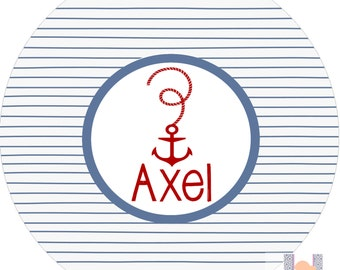 Monogrammed boy red white and blue anchor dot dinner plate.   A custom, fun and UNIQUE gift idea! Kids love eating on personalized plates!