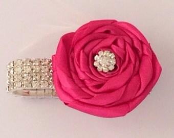Hot Pink Diamante Satin Rose Flower Wrist Corsage