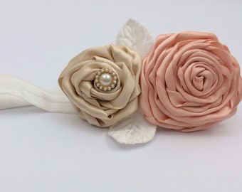 flower girl head band with satin handmade flowers in peach and cream with pearl embellishment and white flowers
