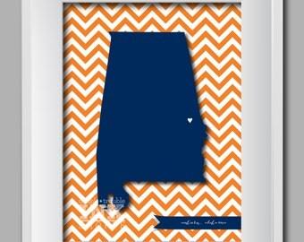Chevron Auburn Map Art Print