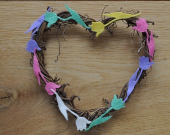 Natural Floral Twine Heart Wreath 15cm With Felt Tulip Flowers In Easter Spring Springtime Colours - Shabby Chic - Pink Lilac Yellow Green