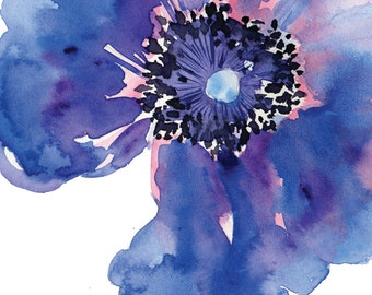 Watercolour Anemone Blank Greeting Card
