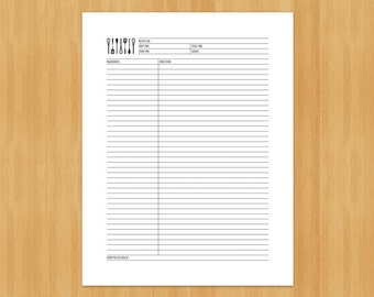 Printable Recipe Cards and Dividers, DIY, Instant Download, Printable PDF, Black and white, 8.5x11