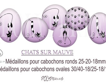 Medallions digitals round and oval cabochons * cats on purple *.