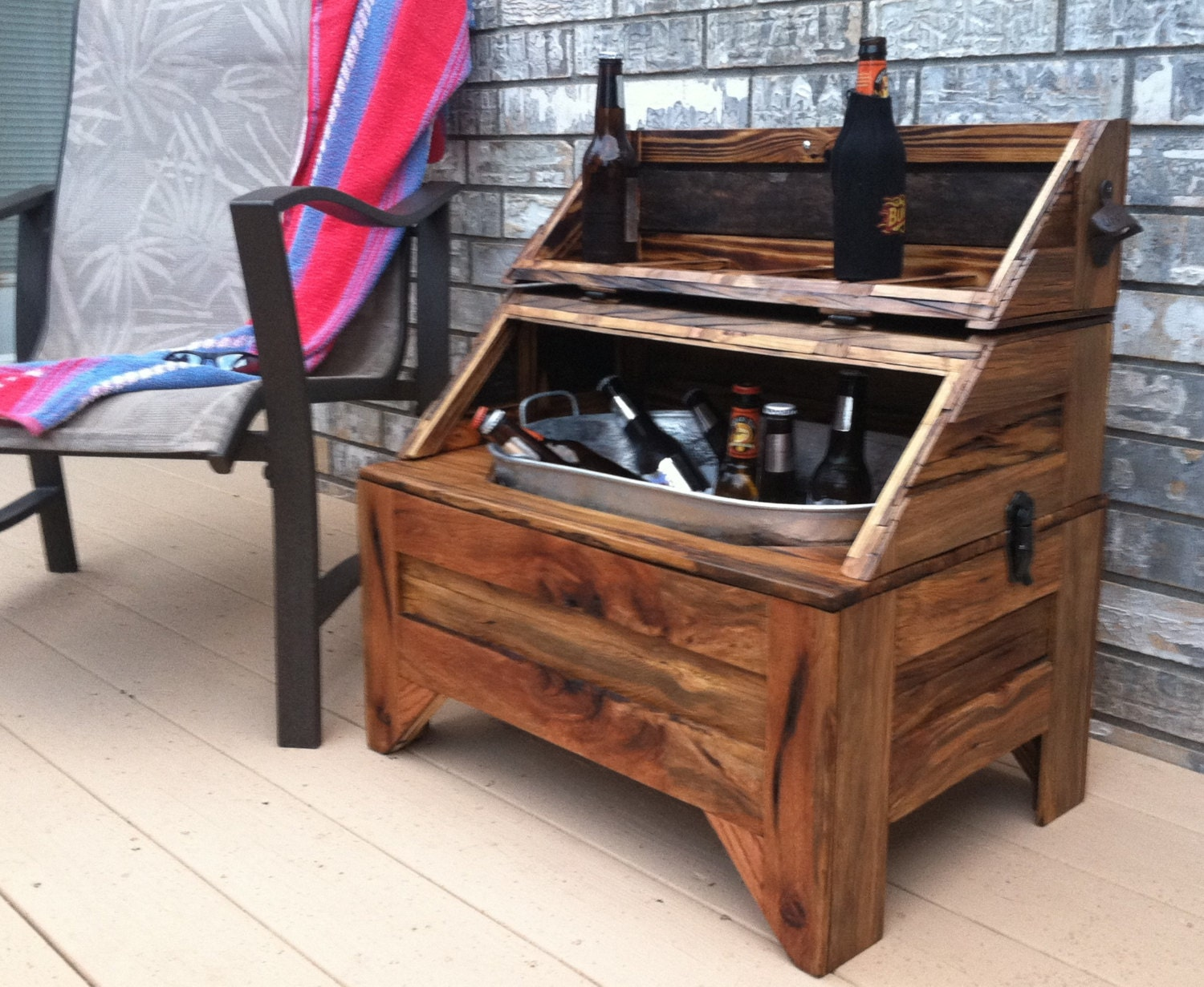 washtub beer cooler horizontal oak barn wood home and