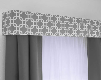Custom Cornice Board Valance Box Window Treatment - Custom Curtain Topper in Modern Grey and White Fabric
