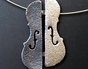 Anvers i revers - Violin / Cello / Viola shape handmade Necklace (silver: two different colours)