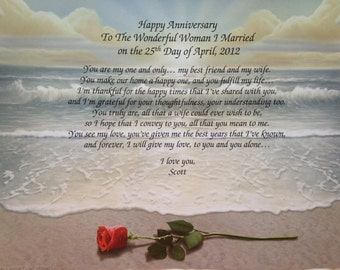 Anniversary Gift For Wife Personalized Poem For 1st 5th