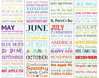 Monthly Subway Art Printables