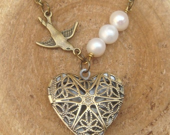 Antique Brass Bird Pearl Locket Necklace Victorian Jewelry Gift Vintage Style