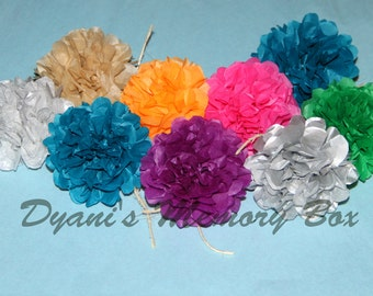 50 Handmade Tissue Paper Mini Pom poms Napkin Holder  Garland Wedding Reception Baby Shower Party Decoration over 60 colors