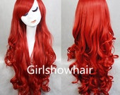 Red Wave Curly Wig Cosplay Wigs Curly Wigs for Women 32 inches Harajuku anime Long Costume Wigs with Side Bangs KARNEVAL Same-Day Shipping