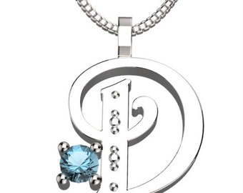 "BirthStone Letter D March Aquamarine 925 Solid Sterling Silver Pendant &18"" Necklace"