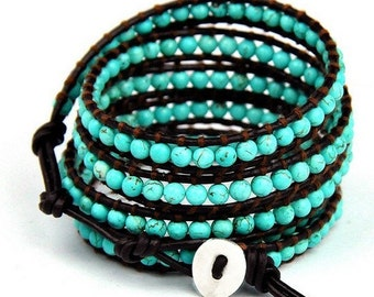 Turquoise 5 Wrap Bracelet Inspired Leather Wrap Bracelet with Turquoise Stones Beads on Dark Brown Leather 925 Silver button