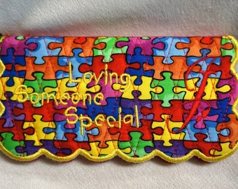 Monogrammed Embroidered Autism Awareness Check Book Cover - Custom Made Just For You