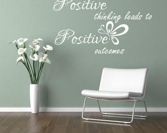 Positive thinking leads to positive outcomes inspirational Wall Sticker 100x55