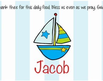 Personalized Placemat - Kids Placemat - Childrens Placemat - Childs Placemat - Laminated Placemat - Baptism Gift - Sailboat