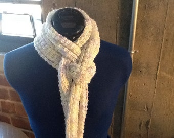 White, green, and purple 'peaks & valleys' scarf.