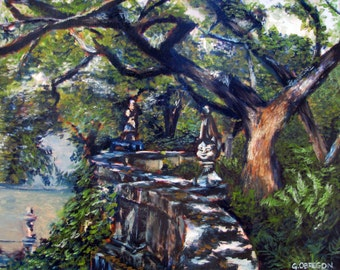 Winding Wall from Vizcaya - Landscape - Tree - Impressionist Style
