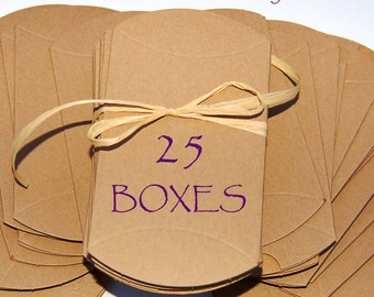 25 pillow boxes, Kraft pillow boxes, wedding favor boxes, jewelry boxes, packaging
