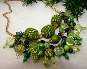 Natural Crochet Necklace/ Dangle Chain Necklace/ Statement Green Necklace/ Wild Rustic Necklace/ Beaded Wooden Necklace/ Handmade Necklace - Nimmet