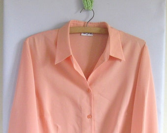 SALE 1980s Secretary Blouse Peach
