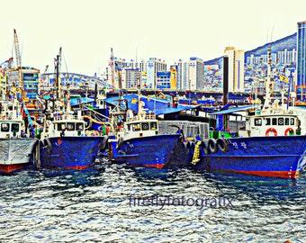 Fishing boats, Busan Harbor, Korea