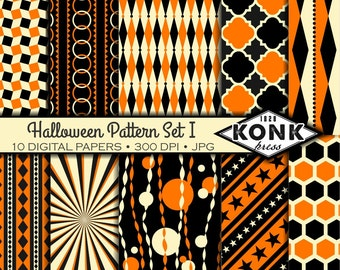 10 Digital Halloween Papers in Black, Orange & Cream, JPG, 300 dpi, 12x12 inches, Set 1 of 3,