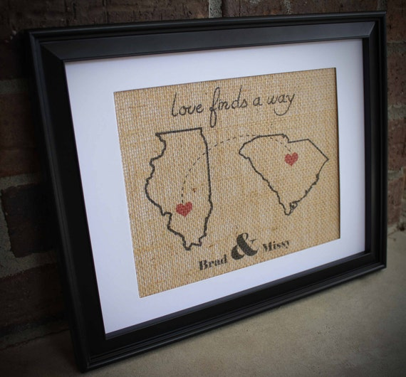 Long Distance Relationship Burlap Print States With Hearts