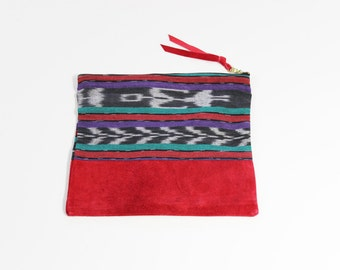 "Vintage Ikat & Repurposed Red Suede 10""  Zipper Pouch Clutch"