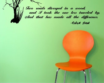 Robert Frost The Road Not Taken Literature inspired wall decal