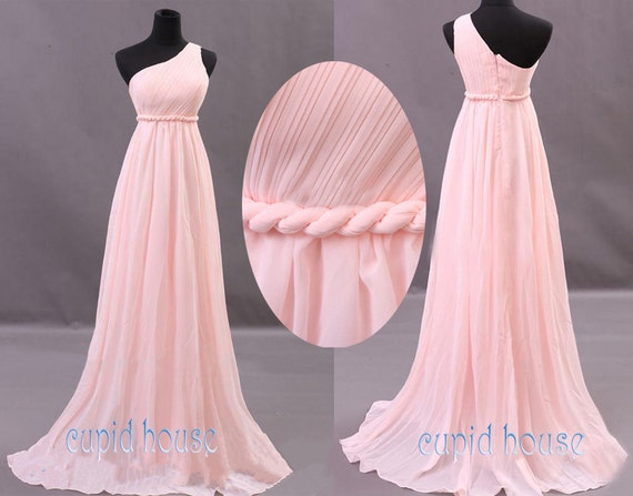 New Arrival A-line One-shouder Sleeveless Chiffon Long Mint Coral Grey Blush Pink Purple Navy Blue Bridesmaid Dress Wedding Party Dress 2014