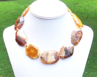 Orange Brown Agate Gemstone Beaded Necklace - 30mm x 50mm Faceted Slab Gematones - Sterling Silver