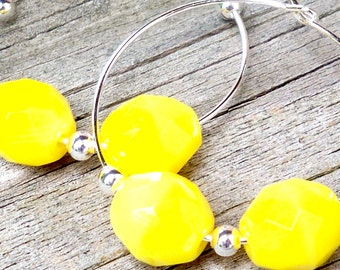Yellow Hoop Earrings Yellow Earrings Yellow Bead Earrings Faceted Yellow Earrings Bright Yellow Earrings 30mm Silver Hoop Earrings Yellow