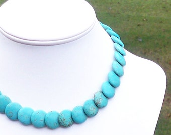 Adette - Turquoise 16mm Round Overlapping Thick Coin Gemstone Beaded Necklace