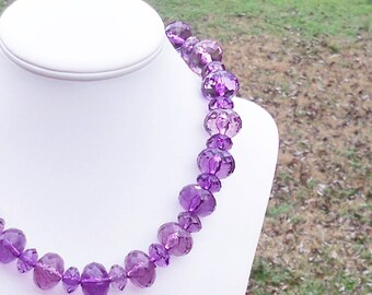 Ariah - Multifaceted Chunky Purple Rondel Beaded Necklace