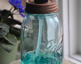 Antique Blue Mason Jar Regular Quart with Pump for Soap, Lotion or Sanitizer