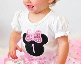 Baby Minnie Mouse Silhouette Birthday Pettiskirt -Personalized Birthday Pettiskirt,Sizes 6m - 14/16